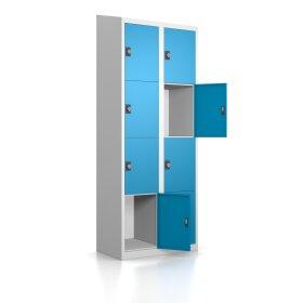 Gebrauchter Schließfachschrank mit 8 Fächern / RAL 5012