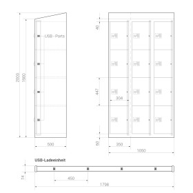 Premium Ladeschrank - 12 USB Ladefächer - Morgentau - Schlüssel