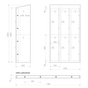 High End Ladeschrank - 6 USB Ladefächer - Frischekick - elektronisches Schloss