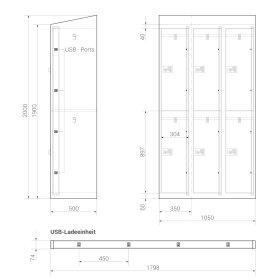 Premium Ladeschrank - 6 USB Ladefächer - Morgentau - Drehriegel
