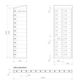 Premium Ladeschrank - 24 USB Ladefächer - Morgentau - Schlüssel