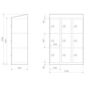 Schließfachschrank - Serie MINI - Größe L - 9 Fächer