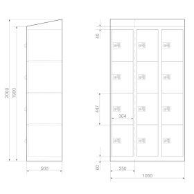 Premium Schließfachschrank - 12 Fächer - Frischekick - Schlüssel
