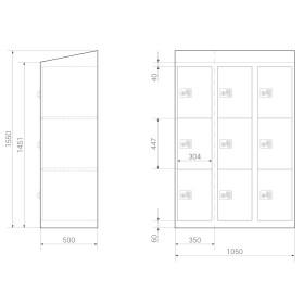 Premium Schließfachschrank - 9 Fächer - Serie MINI - Frischekick - Schlüssel