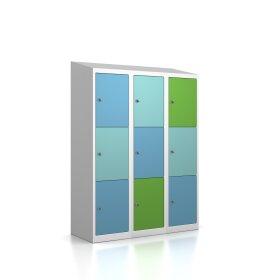 Premium Schließfachschrank - 9 Fächer - Serie MINI - Morgentau - Schlüssel