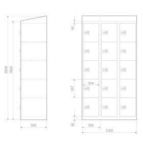Premium Schließfachschrank - 15 Fächer - Morgentau - Schlüssel