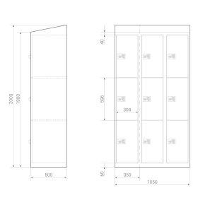 Premium Schließfachschrank - 9 Fächer - Morgentau - Schlüssel