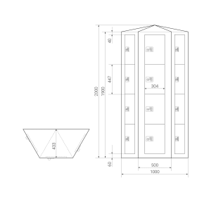 Schließfachsäule mit 12 Fächern, wandstehend