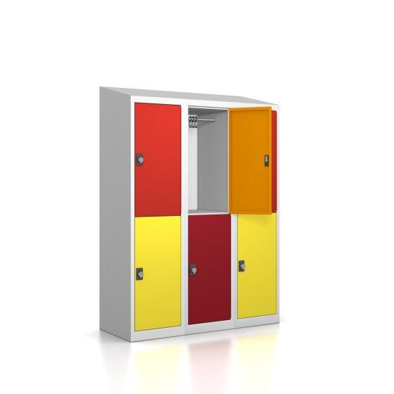 Premium Garderobenschrank - 6 Fächer - Serie MINI - Frischekick - Drehriegel