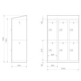 Premium Garderobenschrank - 6 Fächer - Serie MINI - Frischekick - Schlüssel