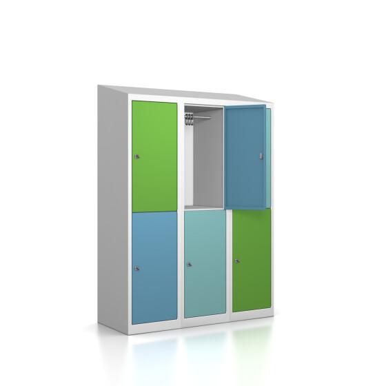 Premium Garderobenschrank - 6 Fächer - Serie MINI - Morgentau - Schlüssel