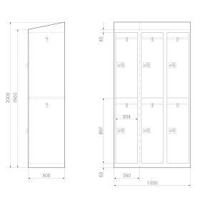 Premium Garderobenschrank - 6 Fächer - Morgentau - Schlüssel
