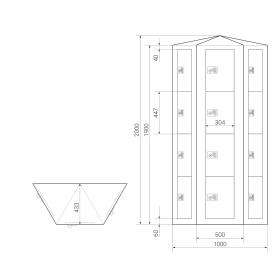 Premium Schließfachsäule mit 12 Fächern, wandstehend - Frischekick - Drehriegel