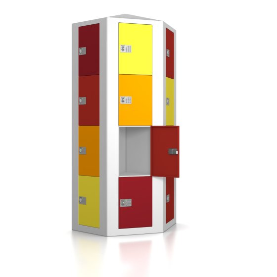High End Schließfachsäule mit 12 Fächern, wandstehend - Frischekick - elektronisches Schloss