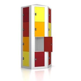 Premium Schließfachsäule mit 24 Fächern, freistehend im Raum - Frischekick - Drehriegel