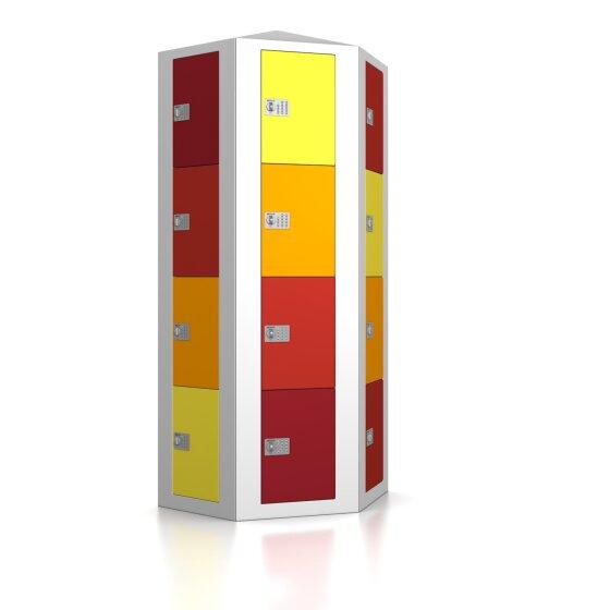 High End Schließfachsäule mit 24 Fächern, freistehend im Raum - Frischekick - elektronisches Schloss