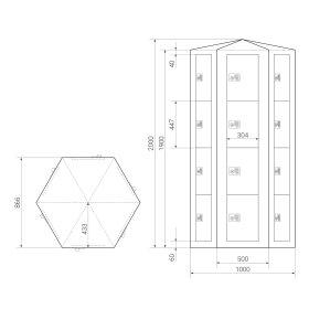 Premium Schließfachsäule mit 24 Fächern, freistehend im Raum - Frischekick - Schlüssel