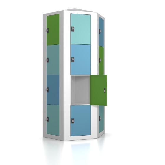Premium Schließfachsäule mit 24 Fächern, freistehend im Raum - Morgentau - Drehriegel