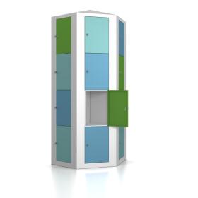 Premium Schließfachsäule mit 24 Fächern, freistehend im Raum - Morgentau - Schlüssel