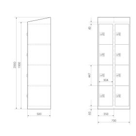 Premium Schließfachschrank - 8 Fächer - Frischekick - Drehriegel