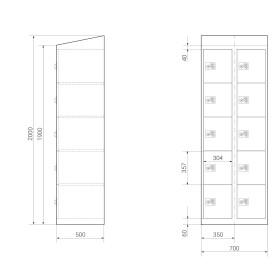 Schließfachschrank - 10 Fächer Design 259 Morgentau Drehriegel