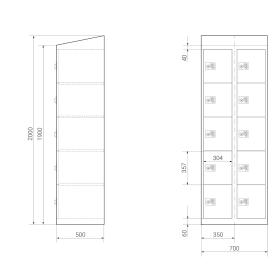 High End Schließfachschrank - 10 Fächer - Morgentau - elektronisches Schloss