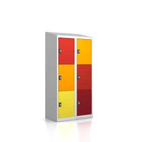 Premium Schließfachschrank - 6 Fächer - Serie MINI -  Frischekick - Drehriegel