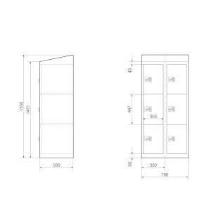 High End Schließfachschrank - 6 Fächer - Serie MINI - Frischekick - elektronisches Schloss