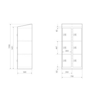 High End Schließfachschrank - 6 Fächer - Serie MINI - Morgentau - elektronisches Schloss
