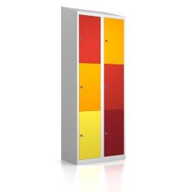 Schließfachschrank - Größe L+ - 6 Fächer Design 001 Frischekick Schlüsselschloss