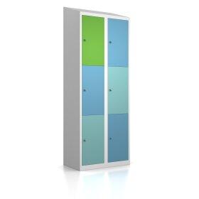 Schließfachschrank - Größe L+ - 6 Fächer Design 259 Morgentau Schlüsselschloss