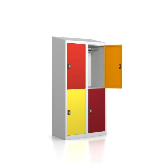 Garderobenschrank - 4 Fächer - Serie MINI Design 001 Frischekick Drehriegel