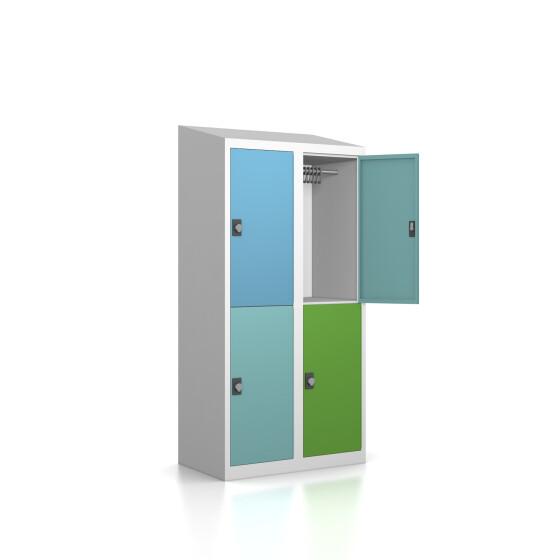 Garderobenschrank - 4 Fächer - Serie MINI Design 259 Morgentau Drehriegel