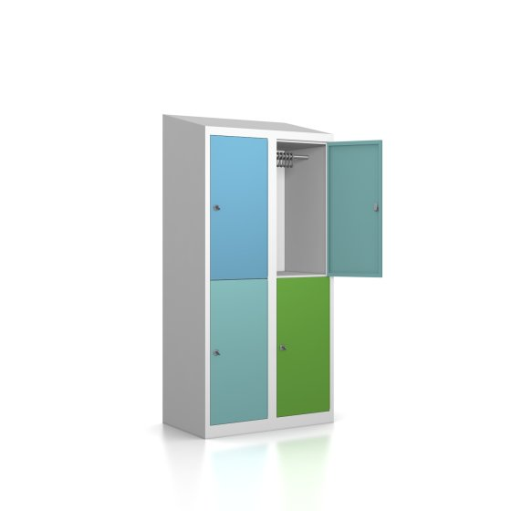 Garderobenschrank - 4 Fächer - Serie MINI Design 259 Morgentau Schlüsselschloss
