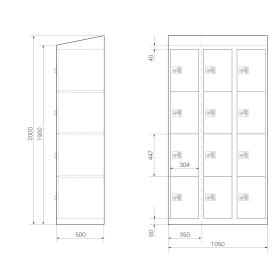 Schließfachschrank - Größe L - 12 Fächer RAL 7035 Lichtgrau Drehriegel