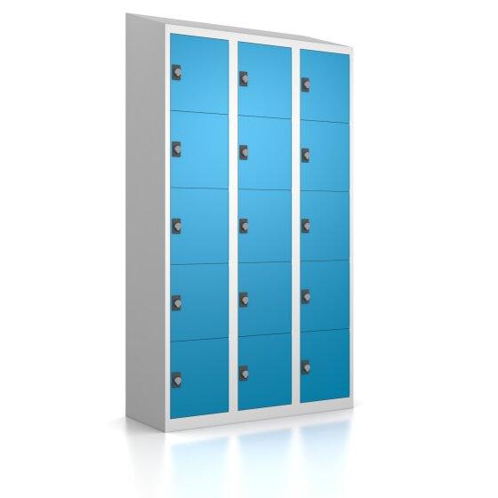 Premium Schließfachschrank - 15 Fächer - Lichtblau - Drehriegel